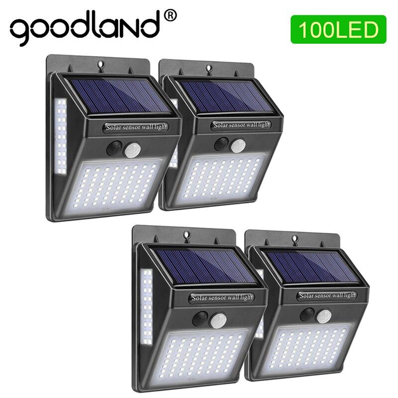 Goodland 100 LED güneş işık açık güneş lambası PIR hareket sensörü güneş enerjili güneş ışığı duvar sokak işık bahçe dekorasyon için