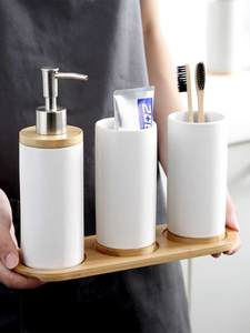 Cup Toothbrush-Holder Bamboo Bathroom Dishwashing Glass Ceramic Liquid-Container Kitchen