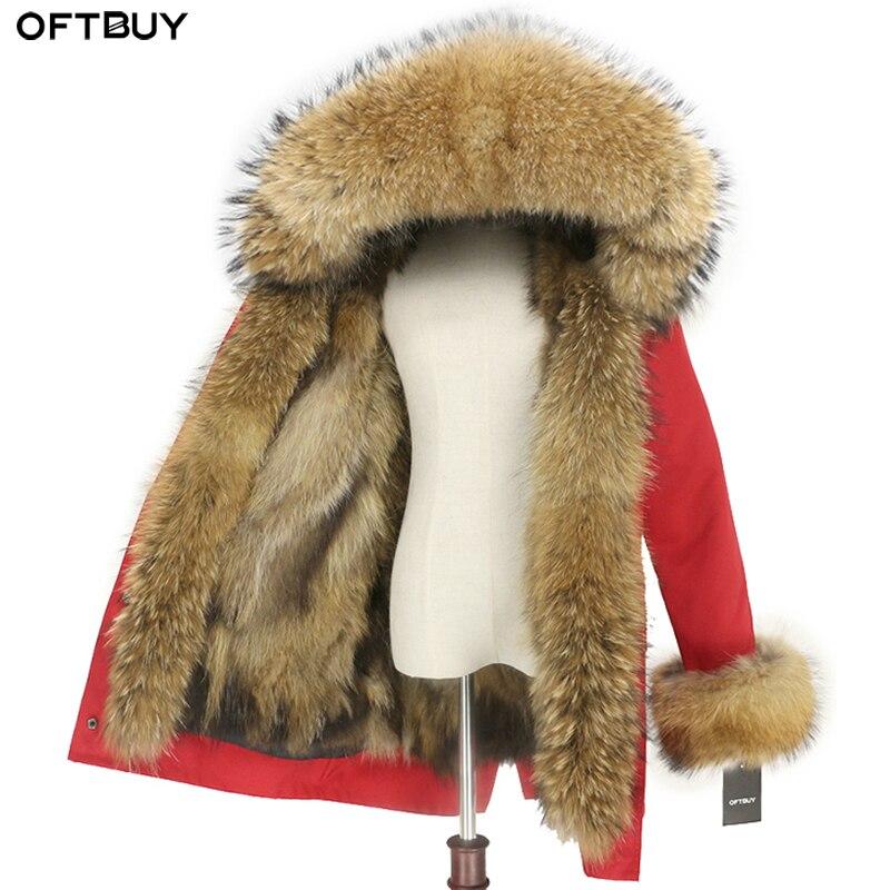 OFTBUY wodoodporne prawdziwe futro kurtka długi płaszcz zimowy kobiety naturalne Raccoon futerko z kołnierzem z kapturem futra lisa liniowej ciepłe Streetwear w Prawdziwe futro od Odzież damska na  Grupa 1