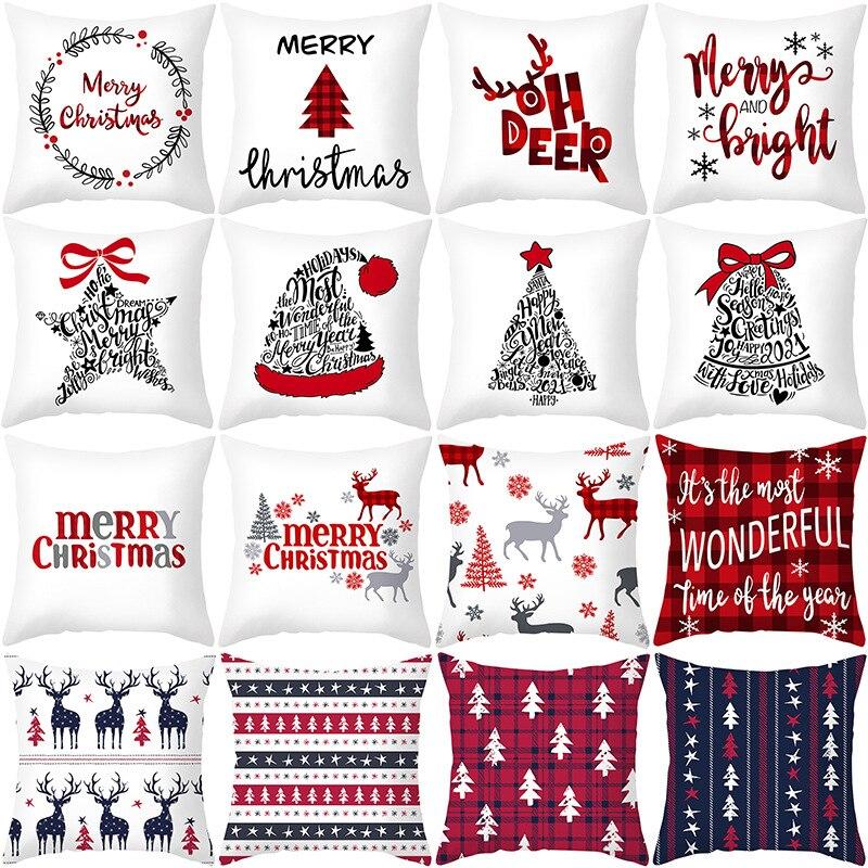 45x45cm Cartoon Weihnachtsmann Elch Weihnachten Kissenbezug - Partyartikel und Dekoration - Foto 1