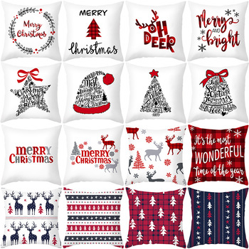 45x45cm γελοιογραφία Santa Claus elk Χριστουγεννιάτικη διακόσμηση μαξιλαριού για το σπίτι Καλά Χριστούγεννα στολίδι