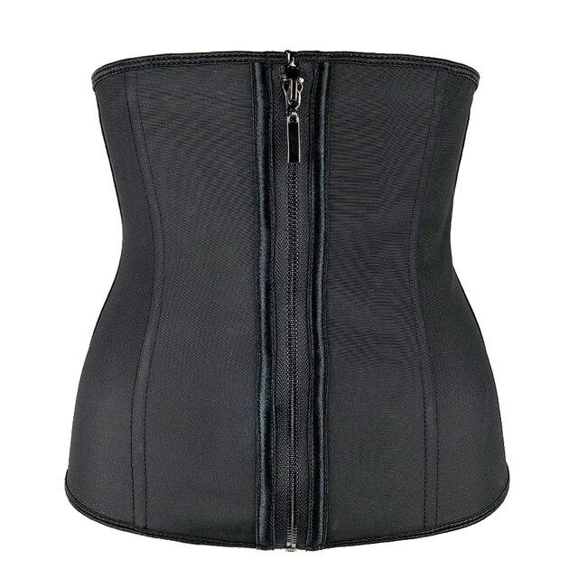 النساء اللاتكس مدرب خصر محدد شكل الجسم الكورسيهات مع سستة Cincher مشد أعلى حزام تخسيس أسود للتنحيف ملابس داخلية حجم كبير 4