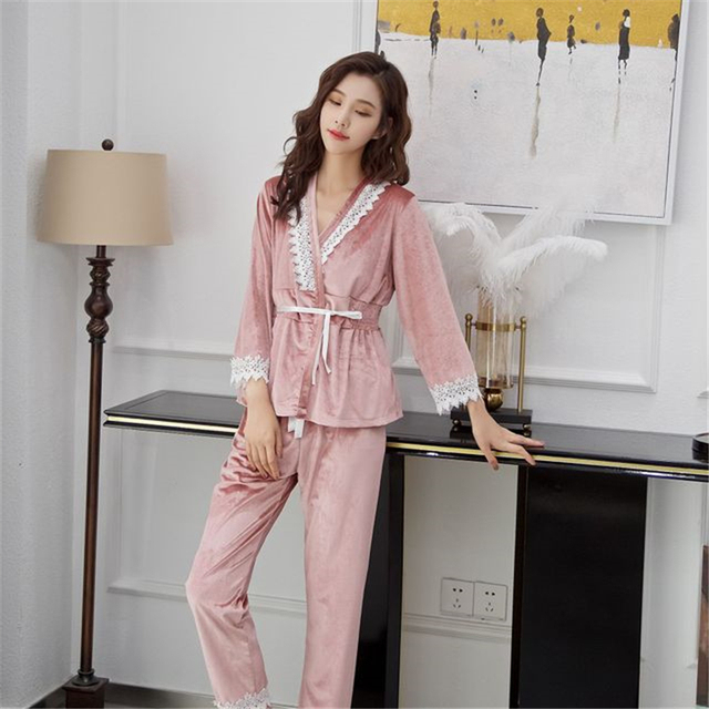 con estampado de encaje 3 piezas Surfiiy de sat/én Conjunto de pijama para mujer