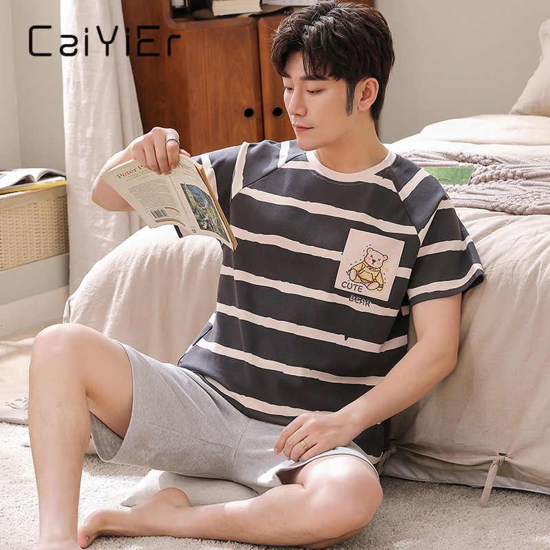CAIYIER новые летние мужские пижамы с короткими рукавами для детей, принт с героями мультфильмов, одежда для сна, Повседневная полосатая пижама костюм для мужчин милый Ночной костюм L-3XL