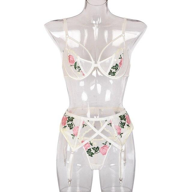 Frauen Unterwäsche Floral Stickerei Transparent Dessous Set Sexy Unterwäsche für Frauen Bh Set 5