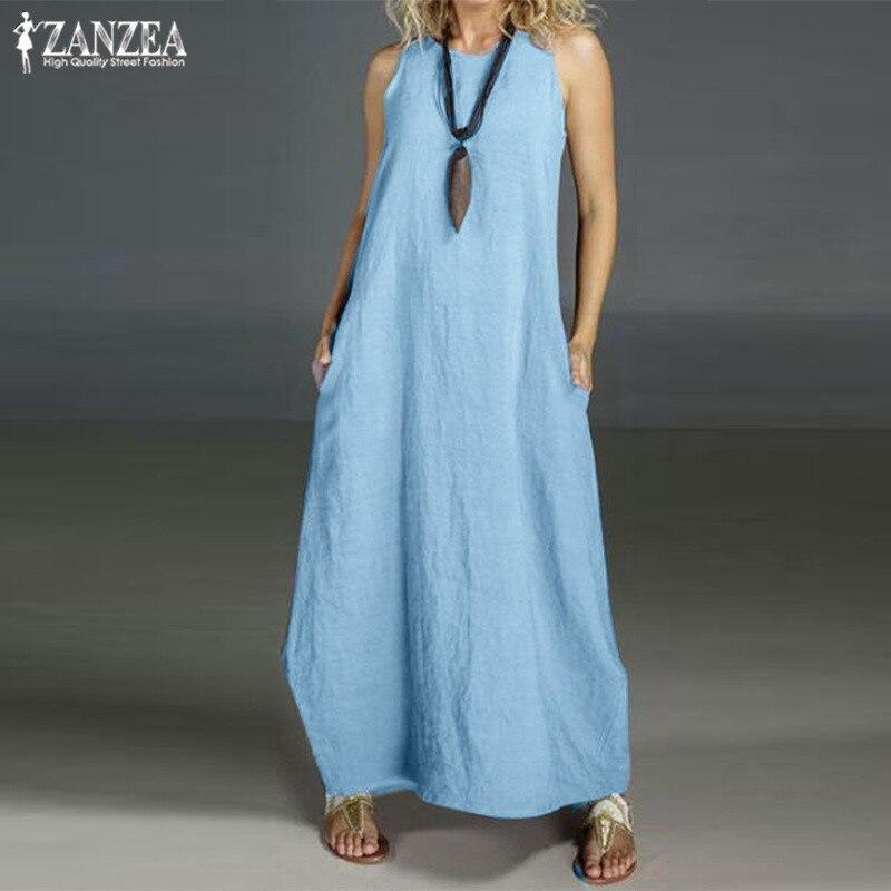 Plus Size Summer Dress Women's Linen Sundress 2019 ZANZEA Casual Maxi Vestidos Vintage O Neck Sleeveless Party Dress Robe Femme