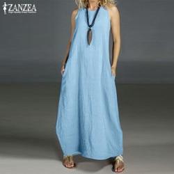 Plus size verão vestido de linho feminino 2021 zanzea casual maxi vestidos vintage o pescoço sem mangas vestido de festa robe femme