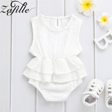ZAFILLE Baby Romper Solid Newborn Infant Baby Girl Clothes Sleeveless Toddler Jumpsuit Summer Cotton Kids Clothes Girls Clothing newborn baby girls princess romper toddler kids long sleeves jumpsuit clothes children cotton lace playsuit pink yellow clothing