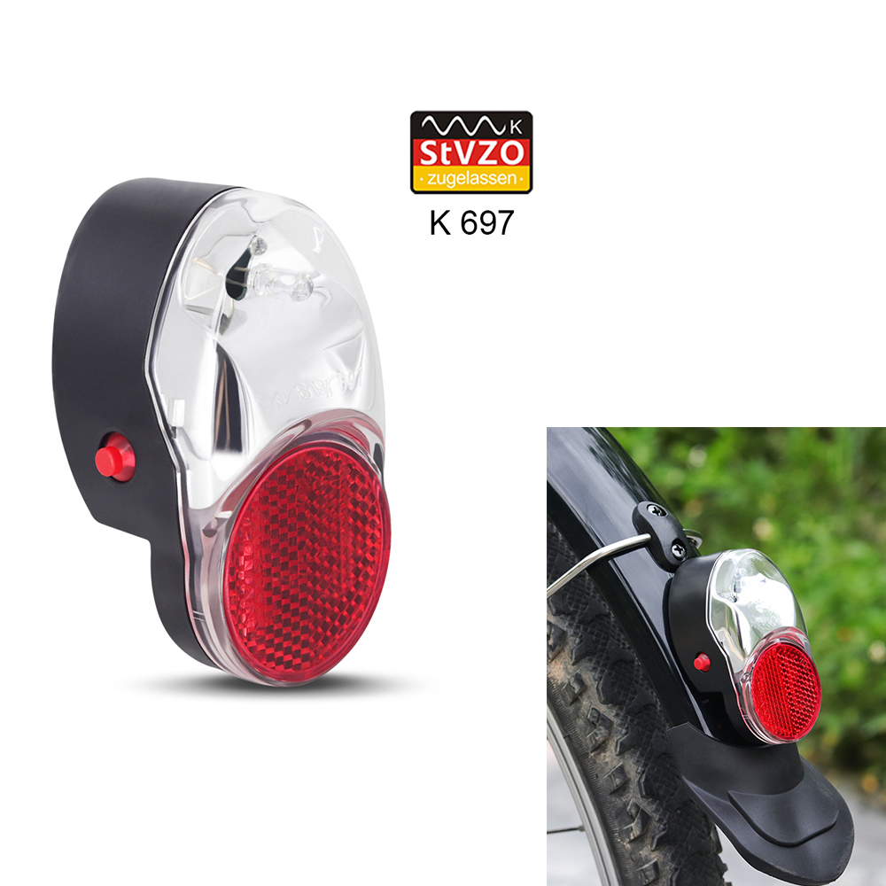 Onature Bicycle Rear Light Mount On Mudguard Warning Bike Fender Light Rear AAA Battery Stvzo LED Bicycle Rear Light Taillight