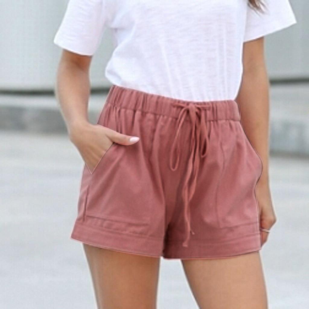 2020 Summer Loose Shorts Shorts Womens Comfy Drawstring Splice Casual Elastic Waist Pocketed Шорты Женские Джинсовые#3