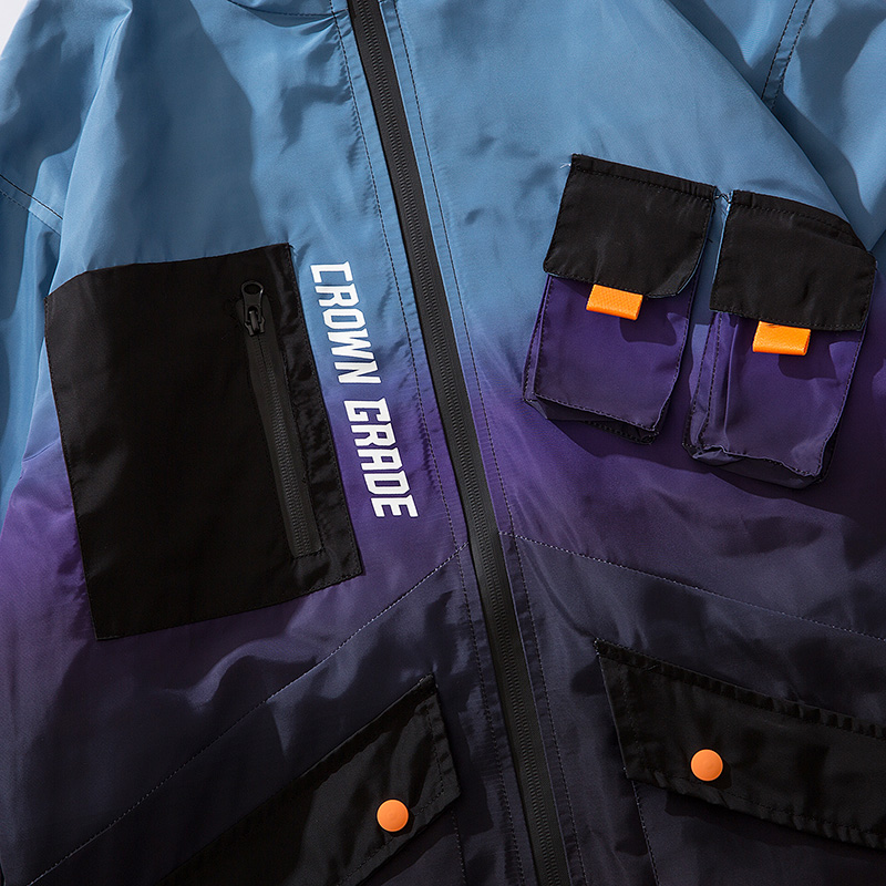 Image 4 - Men Hip Hop Jacket Windbreaker Streetwear Retro Harajuku Gradient Color Block Jacket Coat 2019 Pocket Zip Track Jacket Hoodie-in Jackets from Men's Clothing