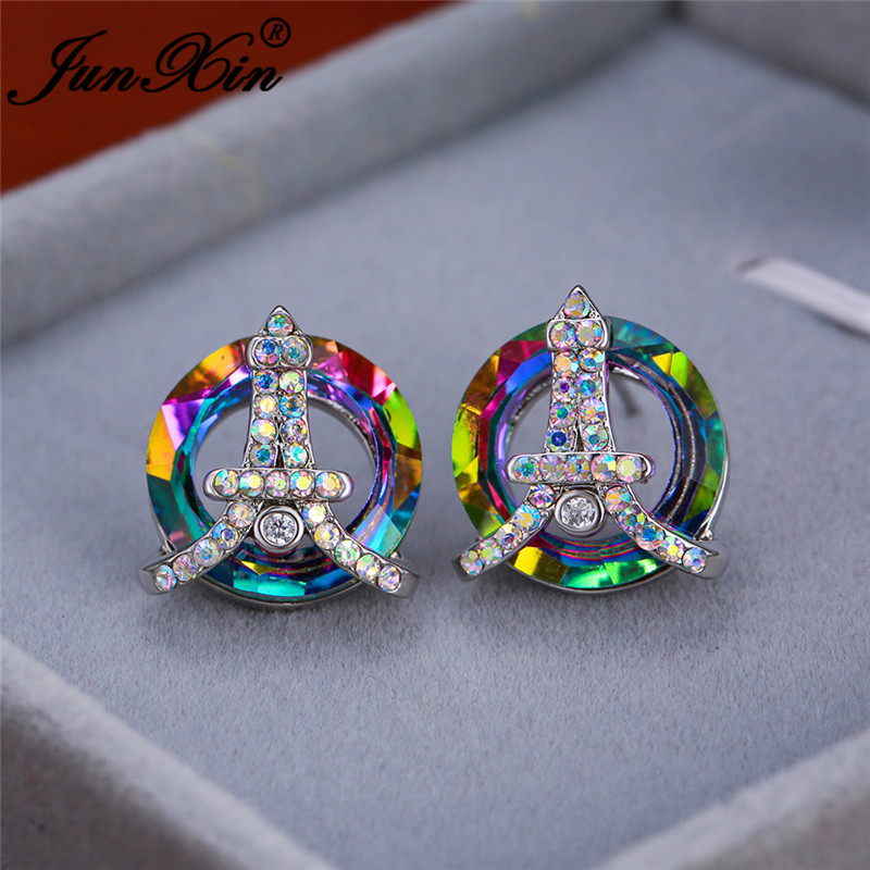 Mystic Rainbow Fire Crystal Tower Stud Earrings White Gold Colorful Stone Round Wedding Earrings For Women Ear Studs Jewelry