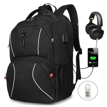 Men Backpacks Knapsack Casual Large capacity USB headphone coded anti-theft Pack Travel School bags 17.3 inch laptop Commuting