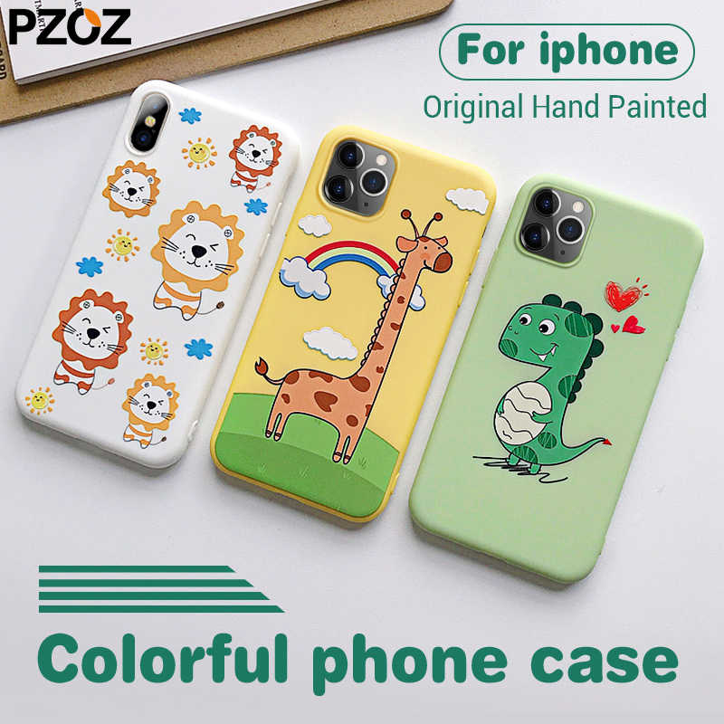 Pzoz caso de luxo para iphone caso bonito 3d emboss ultra fino fino tpu macio proteção para iphone 11 pro max 6s 7 8 mais x xs xr