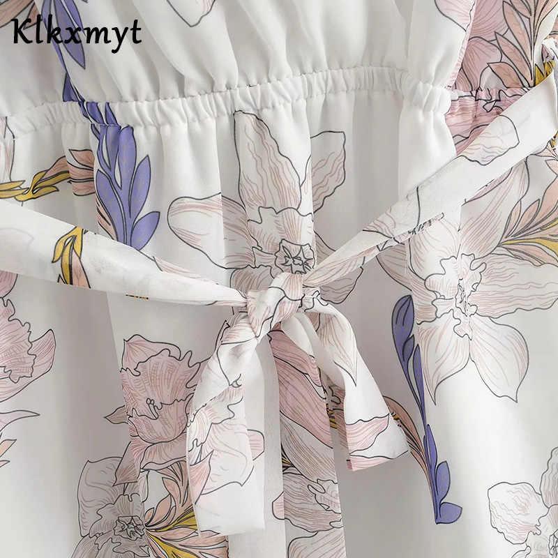 Klkxmyt בציר פרח הדפסת אלגנטי ספגטי סטרפלס סקסי midi מסיבת za שמלת נשים vestidos דה פיאסטה דה noche vestidos