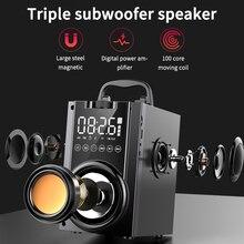 Sans fil Bluetooth haut parleur 2200mAh grande puissance Subwoofer Portable lourd basse stéréo haut parleurs lecteur de musique LCD affichage FM Radio TF