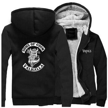 Odin Vikings Jackets Men  Son Of Odin Sweatshirts Hoodies Winter Thick Zipper Valhalla Coats Sportswear Sons Of VikingOutwear 2