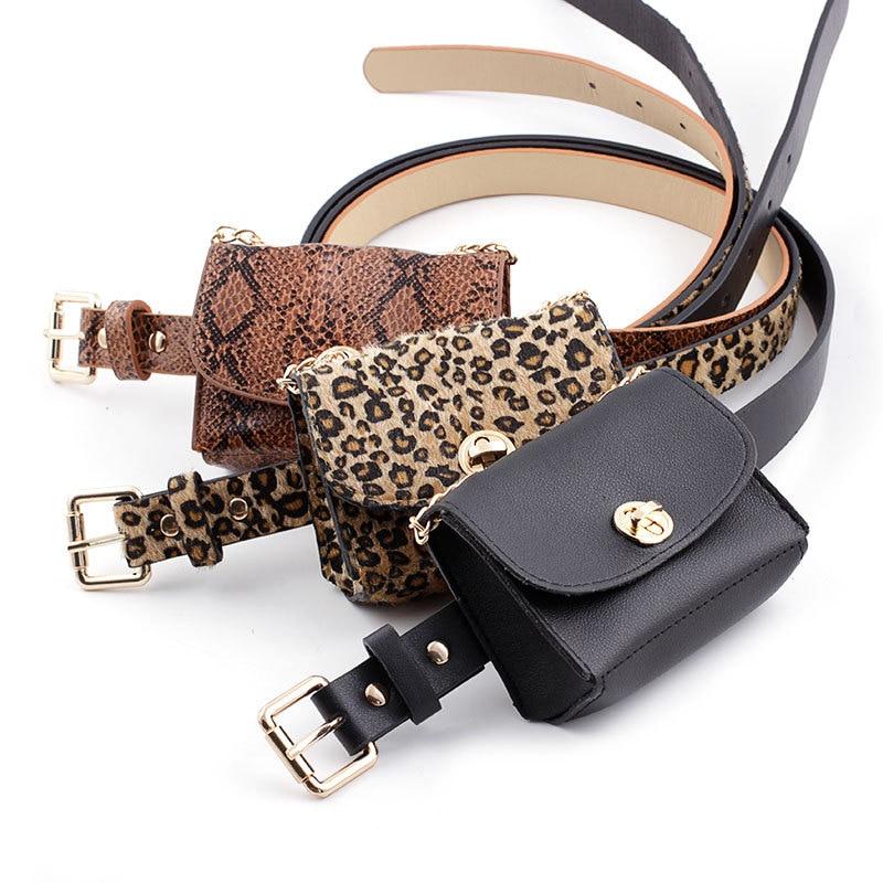 2019 New Snakeskin Waist Belt Bag PU Leather Metal Pin Buckle Waistband Phone Pouch Punk Belts Bag For Women Leopard Fanny Pack