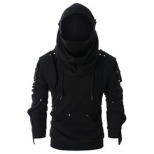 Толстовки косплей рыцарь-воин Толстовка Ретро Маска локоть заклепки пуловер с капюшоном длинный рукав толстовка с капюшоном Блузка ветрозащитная