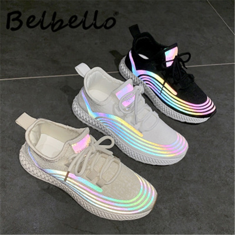 Belbello Reflective Color Fly Woven Women's Shoes Summer Autumn 2019 New Versatile Breathable Casual Shoes FZ-6616