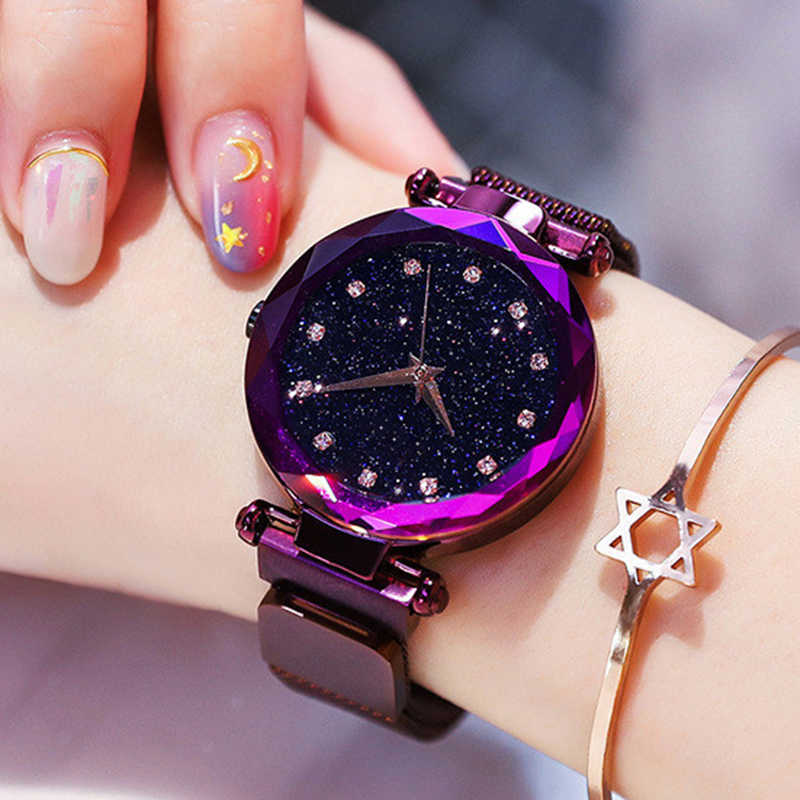 Luxury Rose Gold Women Watches Fashion Diamond Ladies Starry Sky Magnet Watch Female Wristwatch For Gift Clock zegarek damski