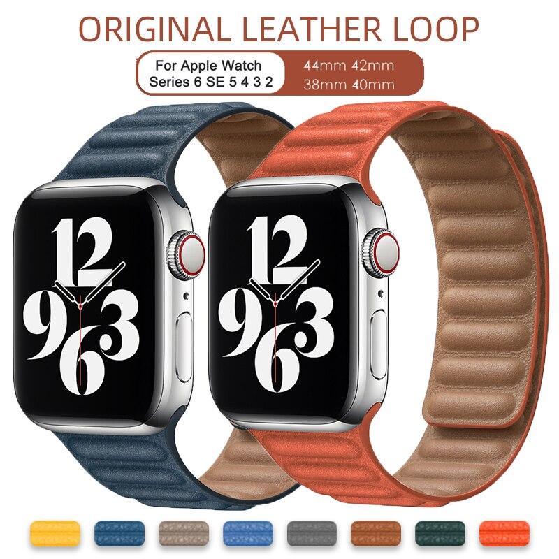 Original Leather Link Loop for Apple Watch 6 Se Strap 42mm 44mm for IWatch 5 4 3 Bracelet Magnetic 38mm 40mm Replacement Belt