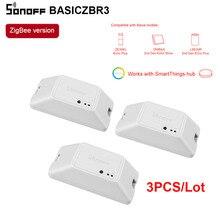 Großhandel 3PCS SONOFF Zigbee Schalter Modul BASICZBR3 DIY Smart Switch Wireless Schalter Vocie Steuerung Über Alexa SmartThings Hub