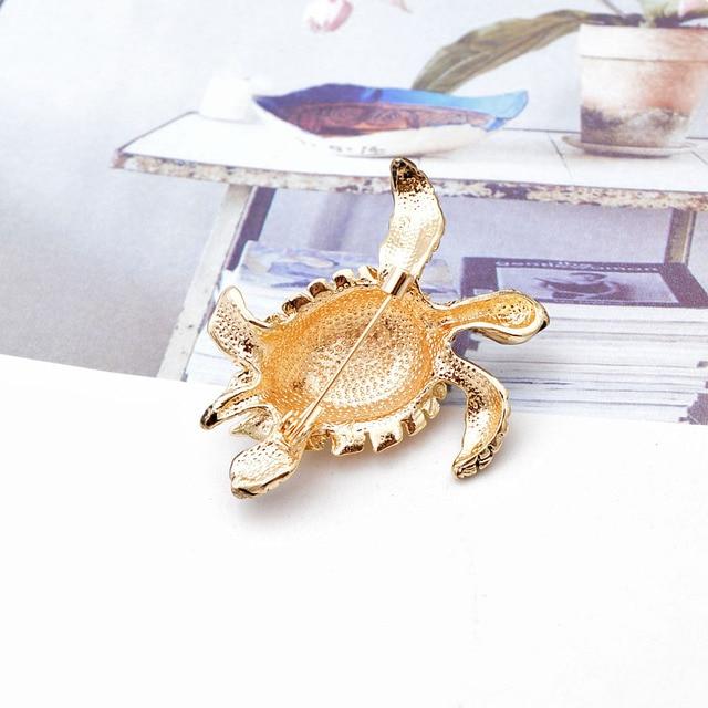 CINDY XIANG-broches de diamantes de imitación de tortuga para mujer, Pin de esmalte Vintage, accesorios de Pin de Animal de moda, joyería creativa 5