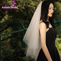 Simple Bridal Veil Short Tulle White Two Layers Wedding Veils With Hair Comb For Wedding Party Accessories Bruidssluier