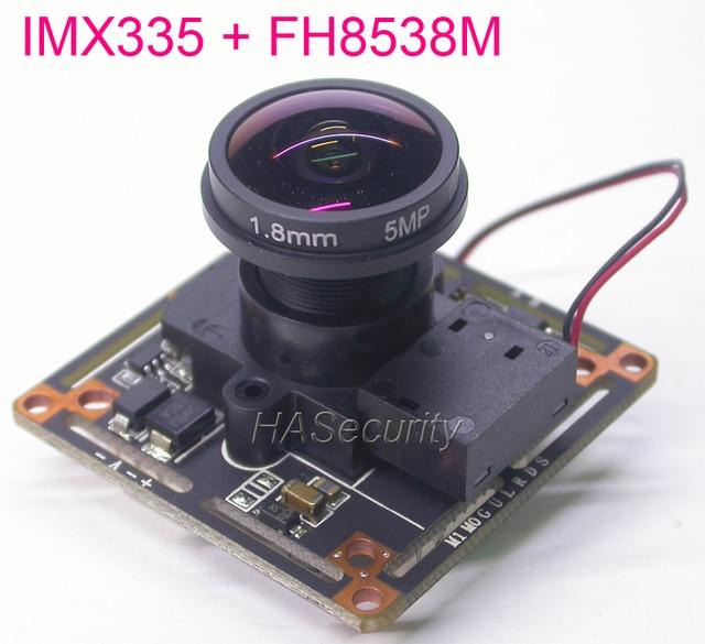 Balıkgözü Lens AHD 5MP 4MP/1/2 8 STARVIS IMX335 CMOS görüntü sensörü + FH8538 güvenlik kamerası modülü PCB kartı + IRC + OSD kablosu