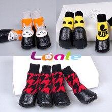 Lan bo er носки для питомцев осень-зима стиль мультфильм обувь собака водонепроницаемые носки Тедди золотистый ретривер противоскользящие теплые ботиночки
