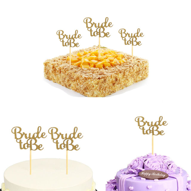 """Glittered """"Bride to Be"""" Cupcake Topper Set 10 Pcs"""