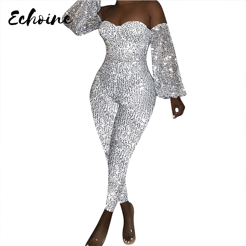 Women Sequin Off Shoulder Plunging V-Neck Lanter Long Sleeve Bodycon Party Club Night Jumpsuit Sexy Retro Romper Playsuit S-XXL