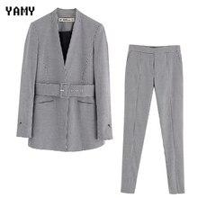 New zora vicky Houndstooth Womens Blazer Pant Suit set offic