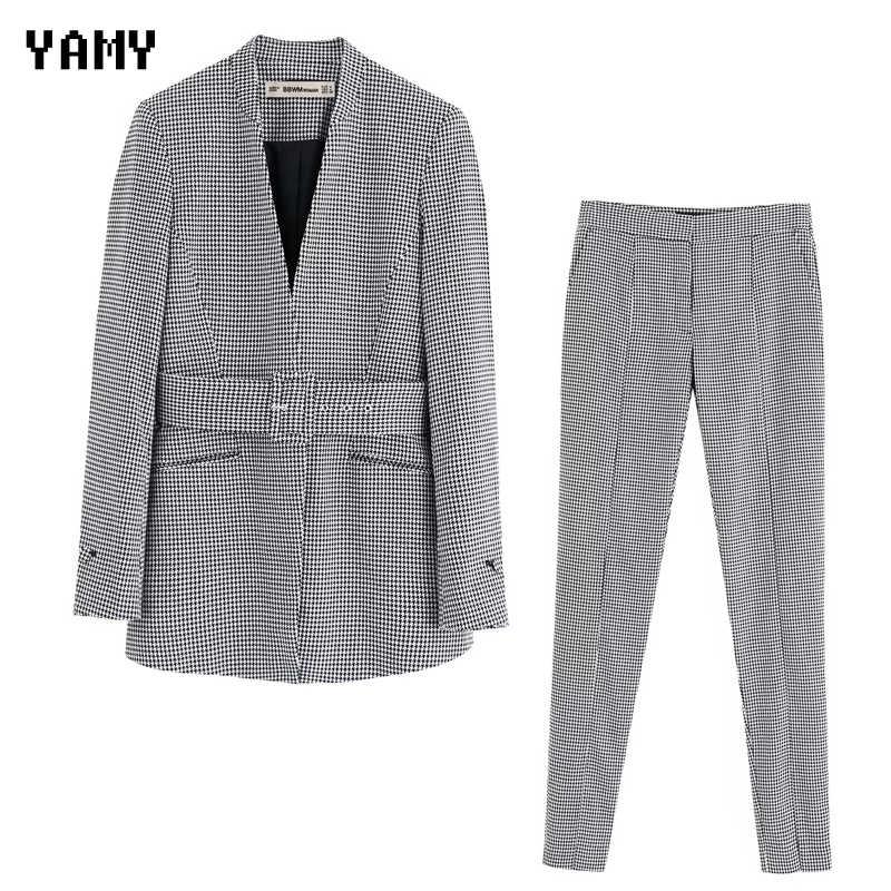 ใหม่ zora Vicky Houndstooth สตรี Blazer ชุดกางเกงสูทสำนักงานเลดี้ฤดูหนาวฤดูใบไม้ร่วงสบายๆเสื้อ + กางเกงชุด streetwear