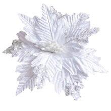 Белые Искусственные Рождественские цветы блестящие поддельные
