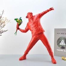 Black/White Boy Creative  British Street Sculpture Statue Art Flower Bomber Stone Collection Art Toy Ornaments Miniature gift