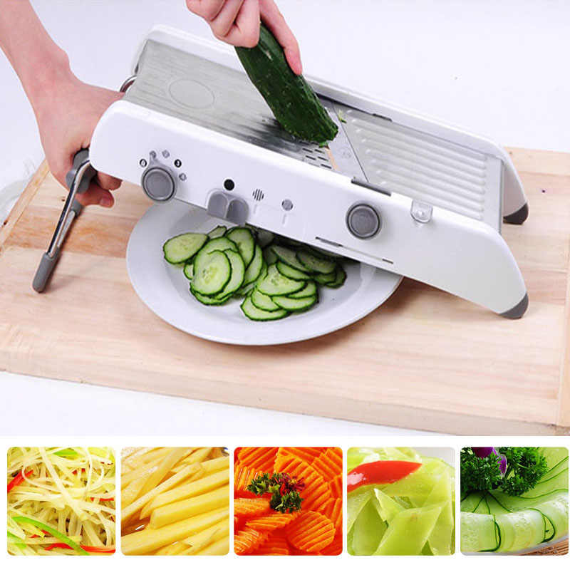 Vegetable Cutter Alat Pemotong Mandrel Parutan Manual Profesional dengan Adjustable 304 Stainless Steel Pisau Sayur Alat Dapur