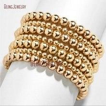 Pulsera rellena de oro con cuentas minimalistas, pulsera de Metal elástica, brillante