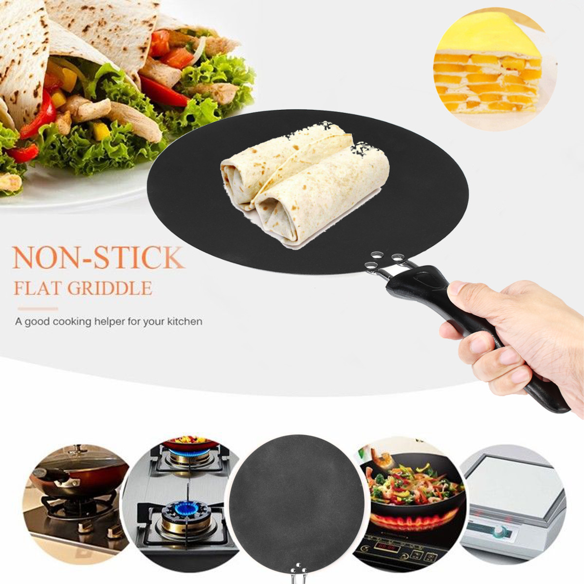 Kitchen Non-Stick Pancake Pan Crepe Maker Flat Pan Frying Griddle Fire Stoves Household Camping Cookware Portable Lightweight