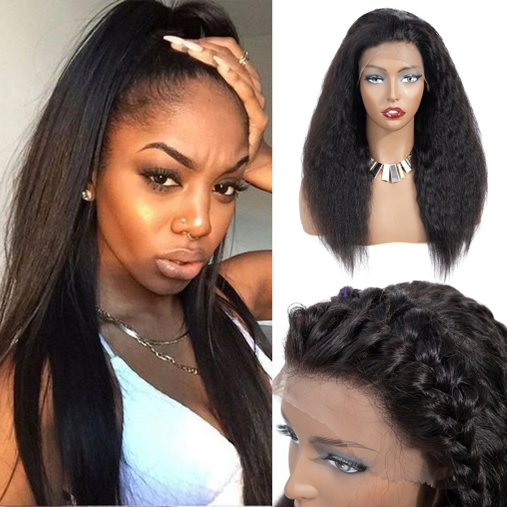 Beaudiva 13*4 Lace Frontal Human Hair Wigs With Baby Hair Kinky Straight Natural Color Brazilian Kinky Straight Hair Lace Wigs