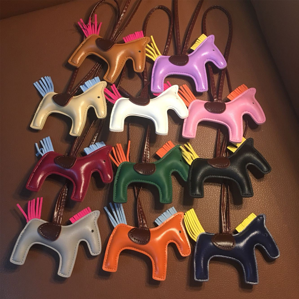 Hand Stitching Mini Leather Horse For Women's Bag Ornament 2-side Bicolor Sheepskin Fringed Petit Pony Rodeo Charm Pendant Bag