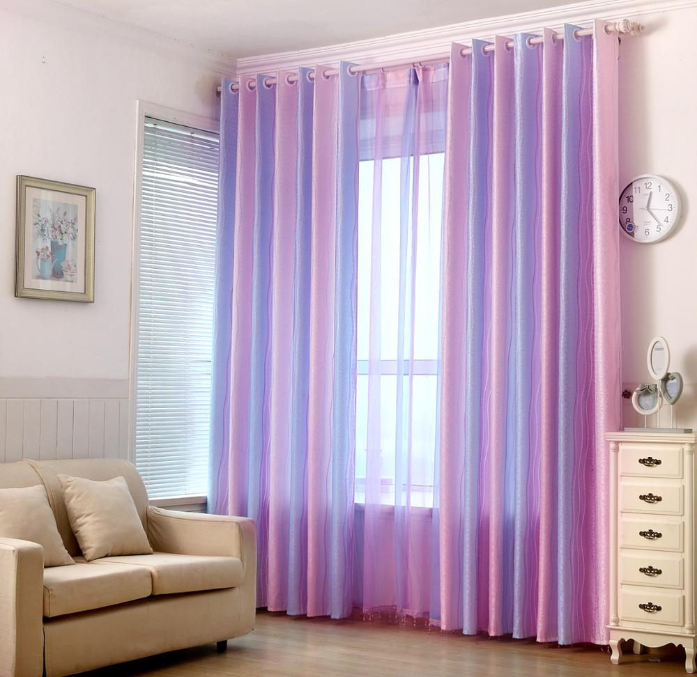 Modern Thick Jacquard Pink Curtains For Girl Bedroom Living Room Gradient Purple Colorful Stripe Print Curtain Window Panel Curtains Aliexpress
