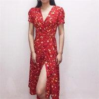 Women Red Floral Dress V Neck Short Sleeve Vintage Lady Belt Lace Up Summer Dresses