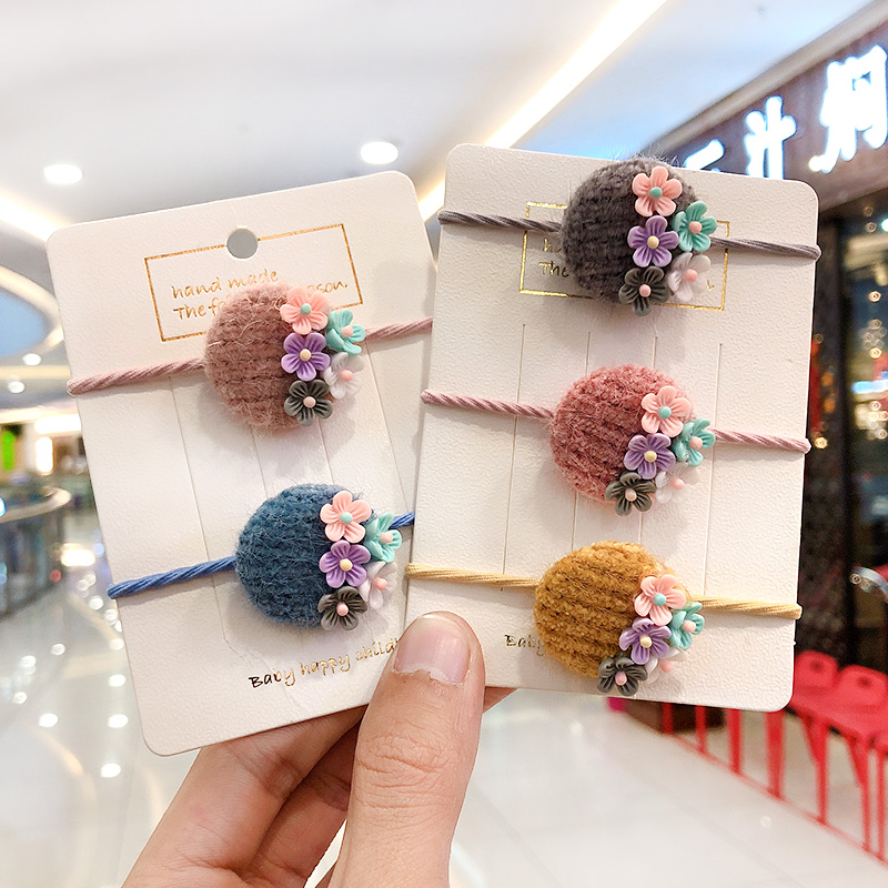 2020 New Gilrs Cute Nylon Acrylic Mix Flower Elastic Hair Bands Children Lovely Srunchies Rubber Bands Kids Hair Accessories