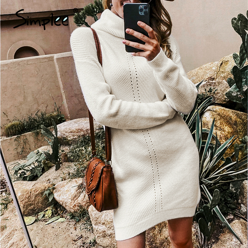 Simplee Casual women knitted dress Autumn winter turtle neck female sweater dress Office lady solid pullover jumper mini dresses