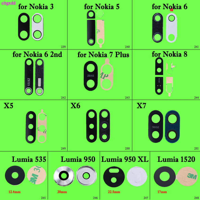 เลนส์ฝาครอบเลนส์ด้านหลังสำหรับ Nokia 5 6 8X5X6X7 5.1 6.1 8.1 7 Plus Lumia 535 950 950XL 1520 สติกเกอร์เปลี่ยน