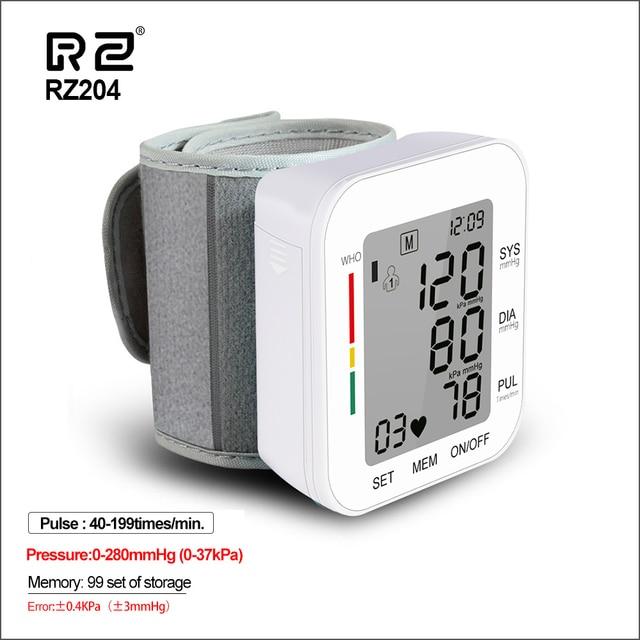 RZ Kỹ Thuật Số Áp Cổ Tay PulseHeart Đánh Đồng Hồ Đo Nhịp Thiết Bị Thiết Bị Y Tế Tonometer BP Mini Máy Đo Huyết Áp