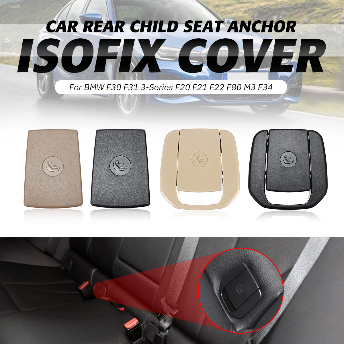 Car Rear Seat Hook ISOFIX Cover Child Restraint For BMW X1 E84 3 Series E90 F30 1Series E87 F20 F80 M3 F30 Rear Seat Hook Buckle