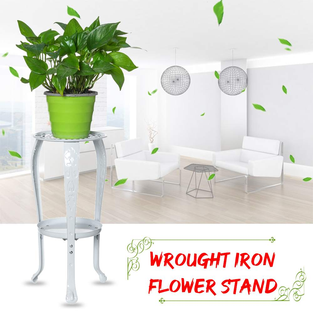 2-layer White Metal Iron Flower Stand Tray Indoor Flower Shelf Rack For Living Room Coffee Bar Garden Flower Pot Shelf